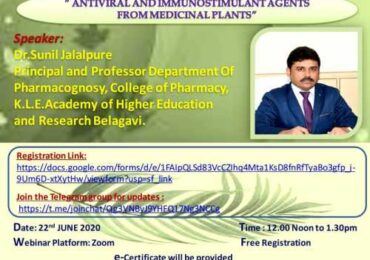 "National Webinar on ""Antiviral and Immunostimulant agents from Medicinal plants"""