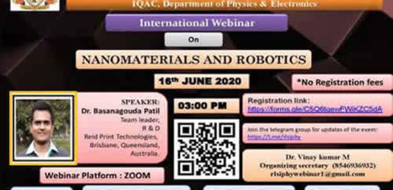 "International Webinar on ""Nanomaterials and Robotics"""